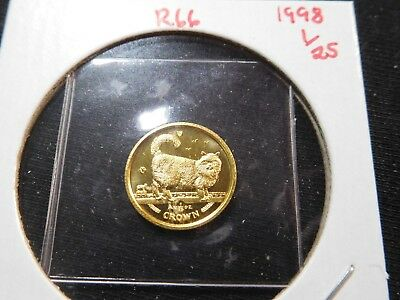 R66 Isle of Man 1998 GOLD 1/25 Oz. Birman Cat Crown Proof In Original Seal