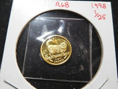 R68 Isle of Man 1998 GOLD 1/25 Oz. Birman Cat Crown Proof In Original Seal