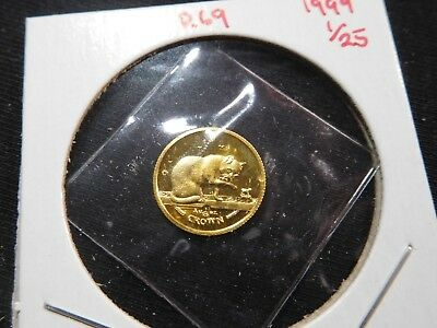 R69 Isle of Man 1999 GOLD 1/25 Oz. British Blue Cat Crown Proof In Original Seal
