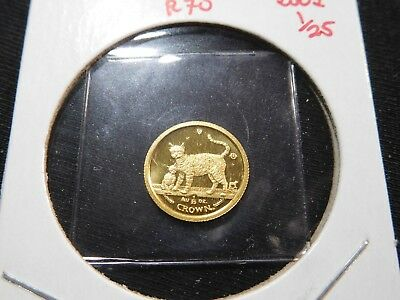 R70 Isle of Man 2002 GOLD 1/25 Oz Bengal Cat/Kitten Crown Proof In Original Seal