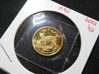 R90 Isle of Man 2002 GOLD 1/10 Oz Bengal Cat/Kitten Crown Proof In Original Seal
