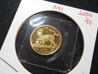 R91 Isle of Man 2002 GOLD 1/10 Oz Bengal Cat/Kitten Crown Proof In Original Seal