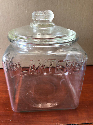 Vintage Planters Peanuts Counter Jar - Large - 7 inches square with Peanut Lid