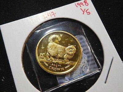 R97 Isle of Man 1998 GOLD 1/5 Oz Birman Cat Crown Proof In Original Seal