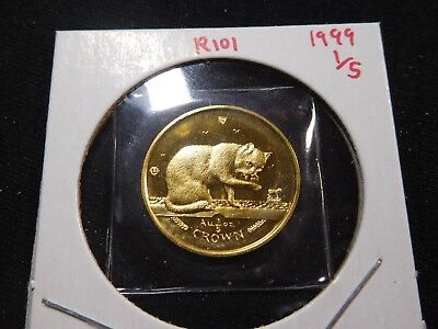R101 Isle of Man 1999 GOLD 1/5 Oz British Blue Cat Crown Proof In Original Seal