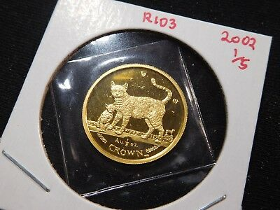 R103 Isle of Man 2002 GOLD 1/5 Oz Bengal Cat/Kitten Crown Proof In Original Seal