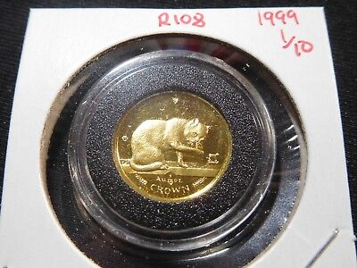 R108 Isle of Man 1999 GOLD 1/10 Oz British Blue Cat Crown Proof In Capsule
