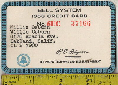 1956 Bell System paper credit card The Pacific Bell Telephone & Telegraph Co.