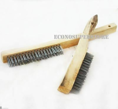 2 Pc Tempered Steel Wire Brush With Wood Handle Set