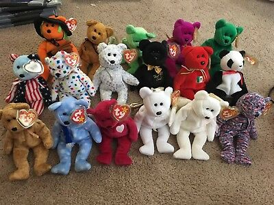 Ty Beanie Babies Lot Of 17 Bears Rare Retired Collection W/ TAGS MINT Valentina