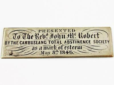 Antique 1846 Cambuslang Total Abstinence Society Scottish Temperance Plaque