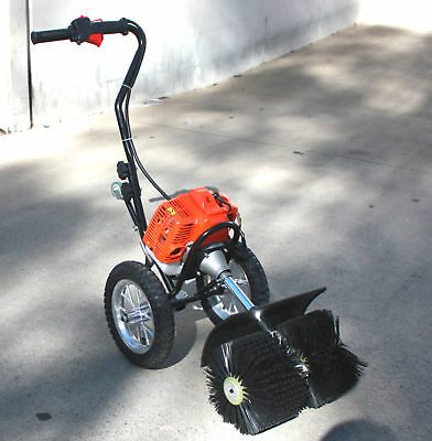 Walk Behind 52Cc Gas Power Broom Sweeper Cleaner Driveway Artificial Grass Snow