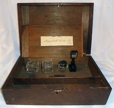 Antique 1869 Writing Box with ink wells and silver? stamp