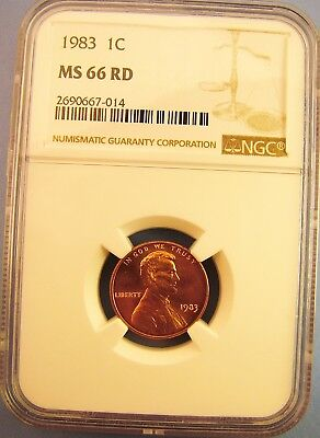 1983 Lincoln NGC MS66RD Memorial Cent 1C UNC RED