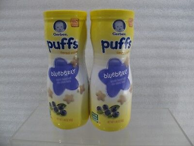 2 Containers Gerber Graduates BLUEBERRY  Puffs 1.48 oz New Sealed EXP 62118