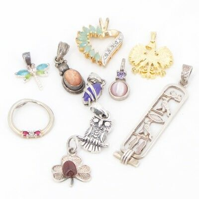 VTG Sterling Silver - Lot of 10 Assorted Charm Pendants NOT SCRAP - 20g
