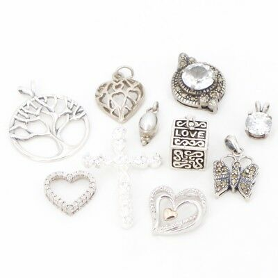 VTG Sterling Silver - Lot of 10 Assorted Charm Pendants NOT SCRAP - 28g