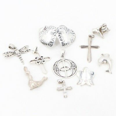 VTG Sterling Silver - Lot of 10 Assorted Charm Pendants NOT SCRAP - 25g