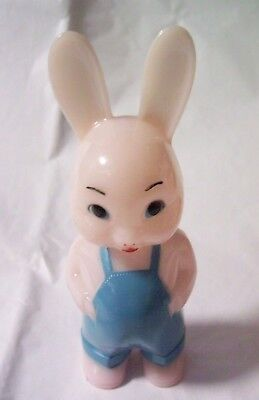 Vintage Knickerbocker Celluloid Bunny with Overalls Baby Rattle