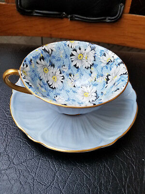Shelley Blue Daisy Chintz Gold Footed Oleander Cup & Saucer