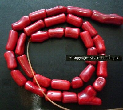 """10x5mm Oxblood red branch Mediterranean color bamboo coral dyed beads 15"""" bs017"""