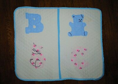 "Vintage Embroidered Appliqued Baby Quilt Blue Bear B Pink Cat C 21"" x 26"""