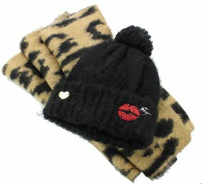 Betsey Johnson NEW Black Brown Womens One Size Cozy Critter Beanie Set $58- #993