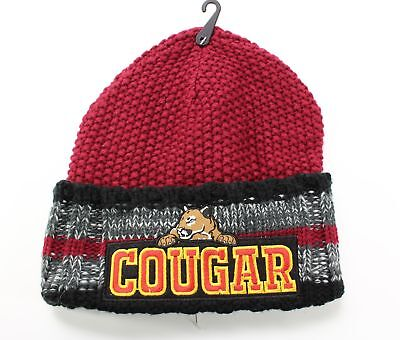 Collection 18 NEW Dark Red One US Size Textured Knit Cougar Cuffed Beanie #156