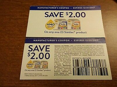 ***12 Any Similac Formula Coupons***Save $2 each*** Expires 12/31/2018