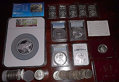 LOT OF 22+ Ounces of Silver Coins, Bars GRADED PF70, MS69, PR69DCAM  Silver