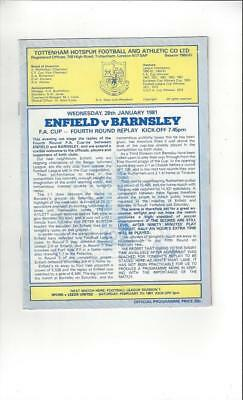Enfield v Barnsley FA Cup Replay 1980/81 Football Programme @ Spurs