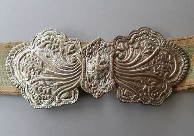 SUPERB & AUTHENTICITY ANTIQUE Baroque Ottoman silver alloy buckle with belt XIXc