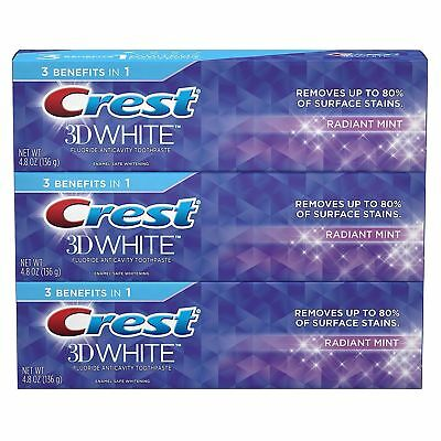 Crest 3D White - Whitening Toothpaste - Radiant Mint - FREE P&P