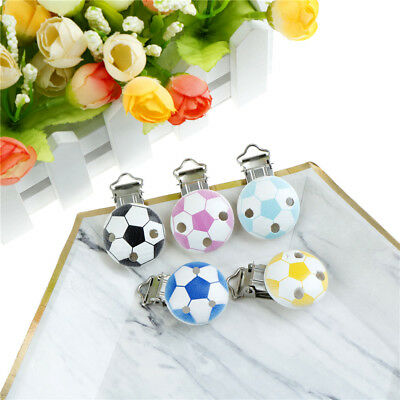Eco-Friendly Printing Football Wood Metal Holders Clips For DIY Baby Pacifier