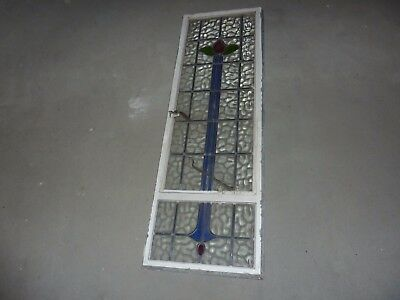 152.5Cm By 50.5Cm Metal Framed Window With Opener & Red/green/blue Stained Glass