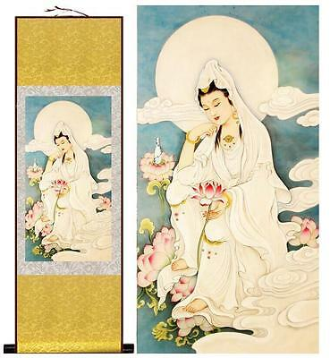 """Guanyin painting art Portrait painting Home Office Decoration 12""""x40"""""""