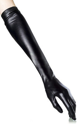 Sexy Wetlook Handschuhe Gloves Lederlook Glanz Gogo Erotik Dessous Schwarz Neu