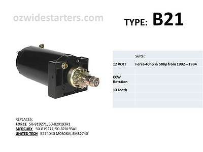 Force starter motor suits 40hp-50hp from 1992-1994.