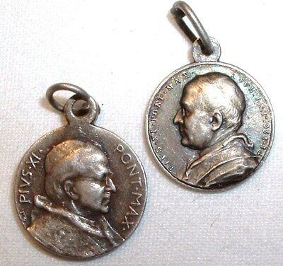 x2 1922 - 1939 Catholic Pope Pius XI Medal - St Paul & St Peter - Mary - NO RES