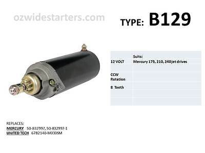 Mercury starter motor suits 175hp, 210hp, 240hp jet drives up to 2001