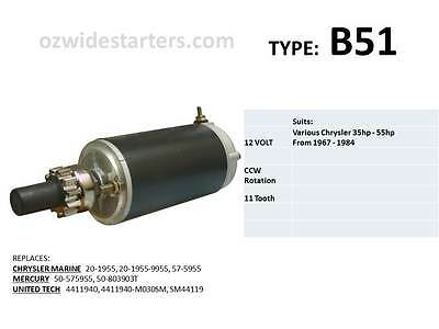 Chrysler / Force starter motor suits 35hp-55hp from 1967-1984.