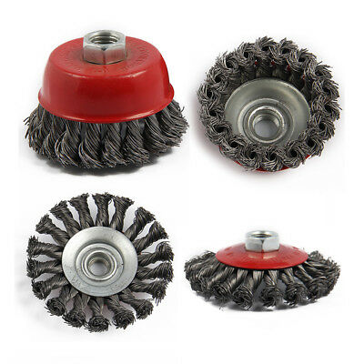 5X(4Pcs M14 Crew Twist Knot Wire Wheel Cup Brush Set For Angle Grinder S3K7)