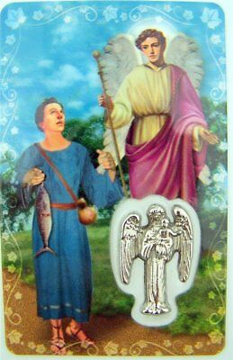 LAMINATED SAINT ST Raphael the Archangel Holy Prayer Card with Medal, 3 1/4  Inch
