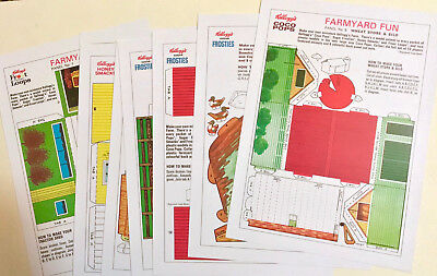 Cereal Toy Panel Repros X Set Of 8 ~ Farmyard Fun 1964 ~Hi-Res, Kelloggs