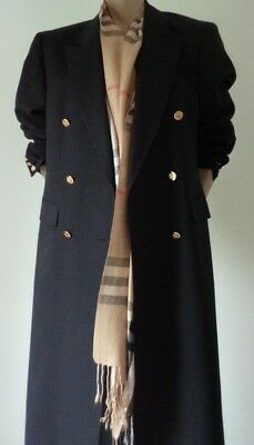 Vintage Burberrys  Coat Mantel Damen Burberry Wool M  Navy Double Breasted