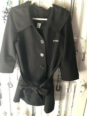 Mary Kay Consultant Beauty Coat Belted Black Smock Size Small