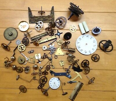 Mixed Collection Antique / Vintage Clock Parts - Steam Punk - Job Lot