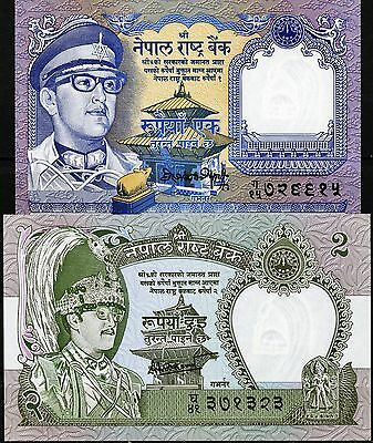 Nepal Set of 2 CRISP Uncirculated Banknotes 1 and 2 Rupees P22 & P29