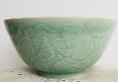 VTG Celadon Porcelain Very Cool Chinese Bowl Fine Details of Fish Leaves Exc