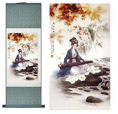 """pretty portrait painting Home Office Decoration Chinese scroll painting 12""""x40"""""""